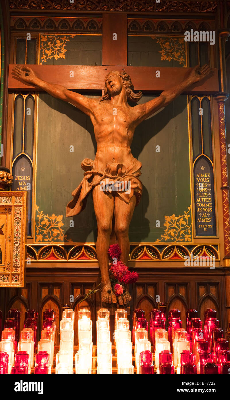 Statue of Jesus on the Holy Cross in Notre Dame Basilica, Montreal, Canada - Stock Image