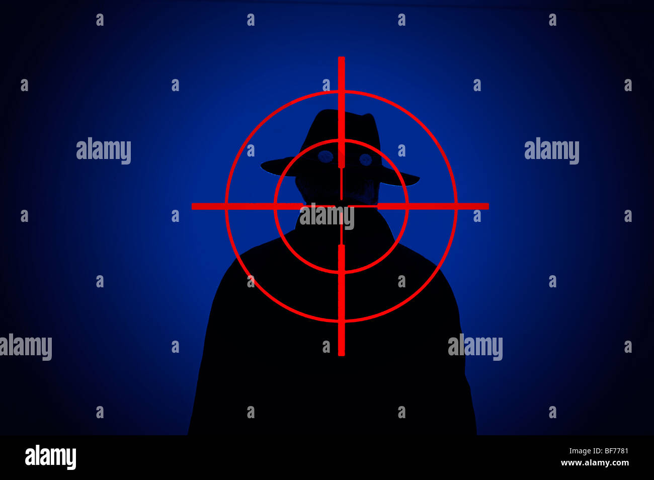 silhouetted man with rifle gun site cross hairs superimposed - Stock Image