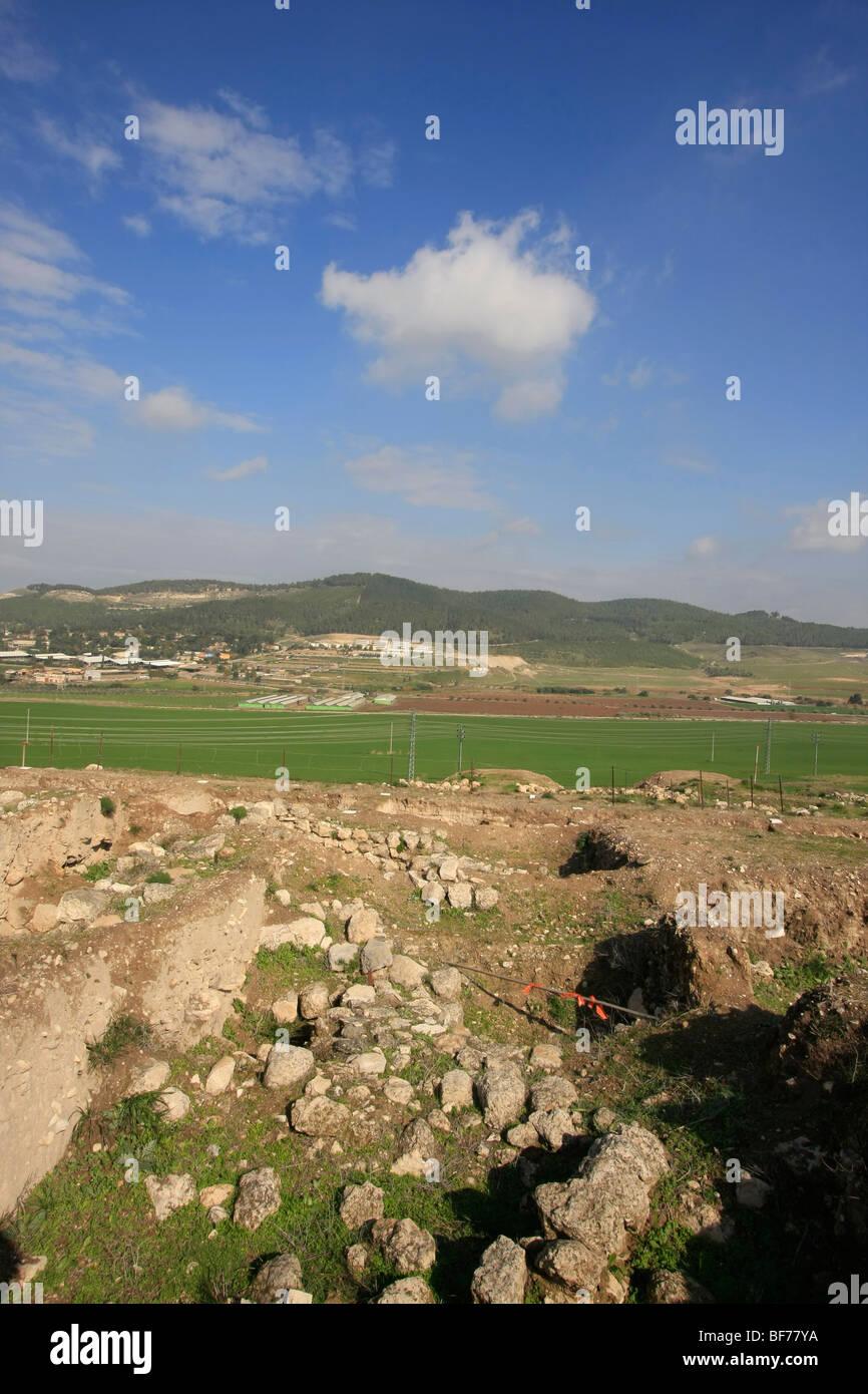 Tel Beth Shemesh: Israel, Shephelah. Sorek Valley And Tel Tzora As Seen From