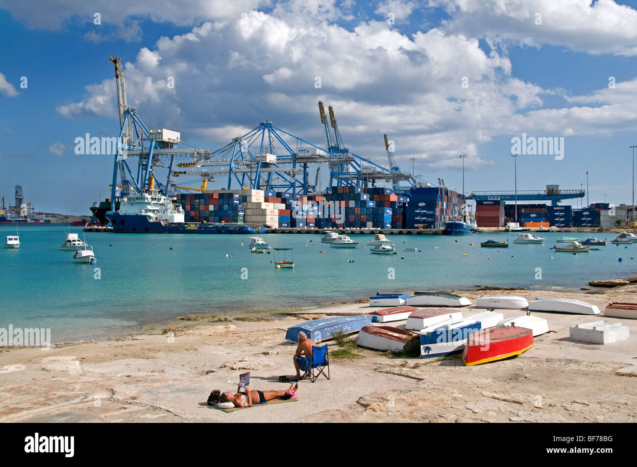 Port Harbor Salina Bay Container Malta Maltese - Stock Image