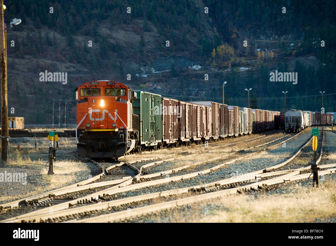 CN train yard. Lillooet BC, Canada. Freight train switching tracks - Stock Image