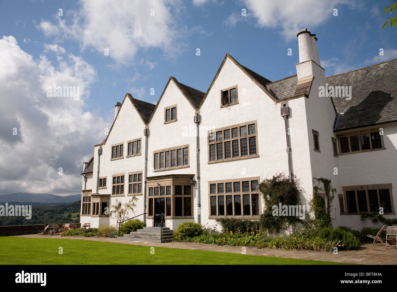 Blackwell is a fine example of an Arts and Crafts house situated above Lake Windermere - Stock Image