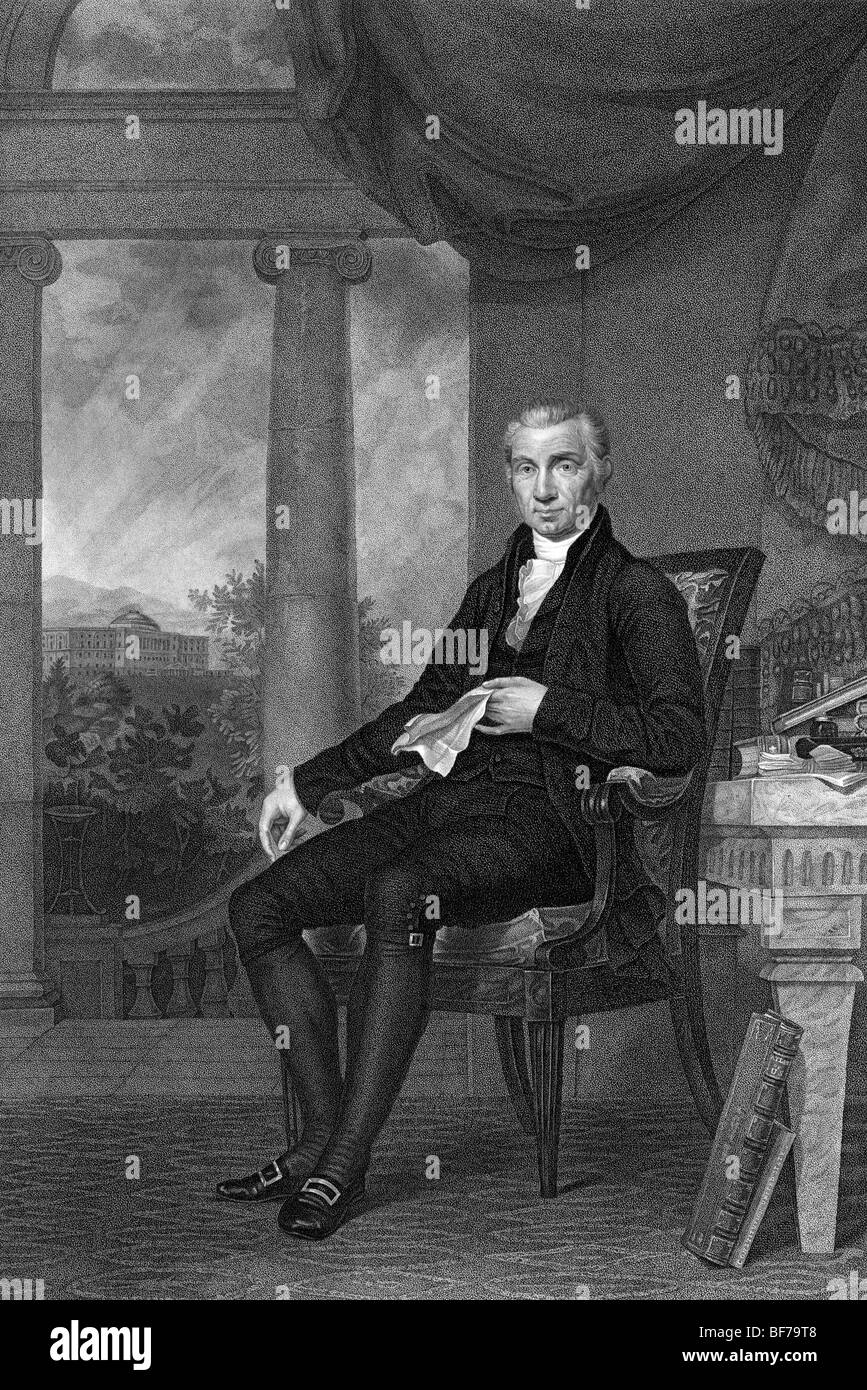 Portrait engraving circa 1817 of James Monroe (1758 - 1831) - the fifth US President (1817 - 1825). - Stock Image