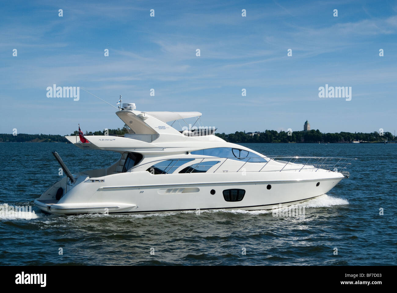 Motor boat in Helsinki harbour - Stock Image