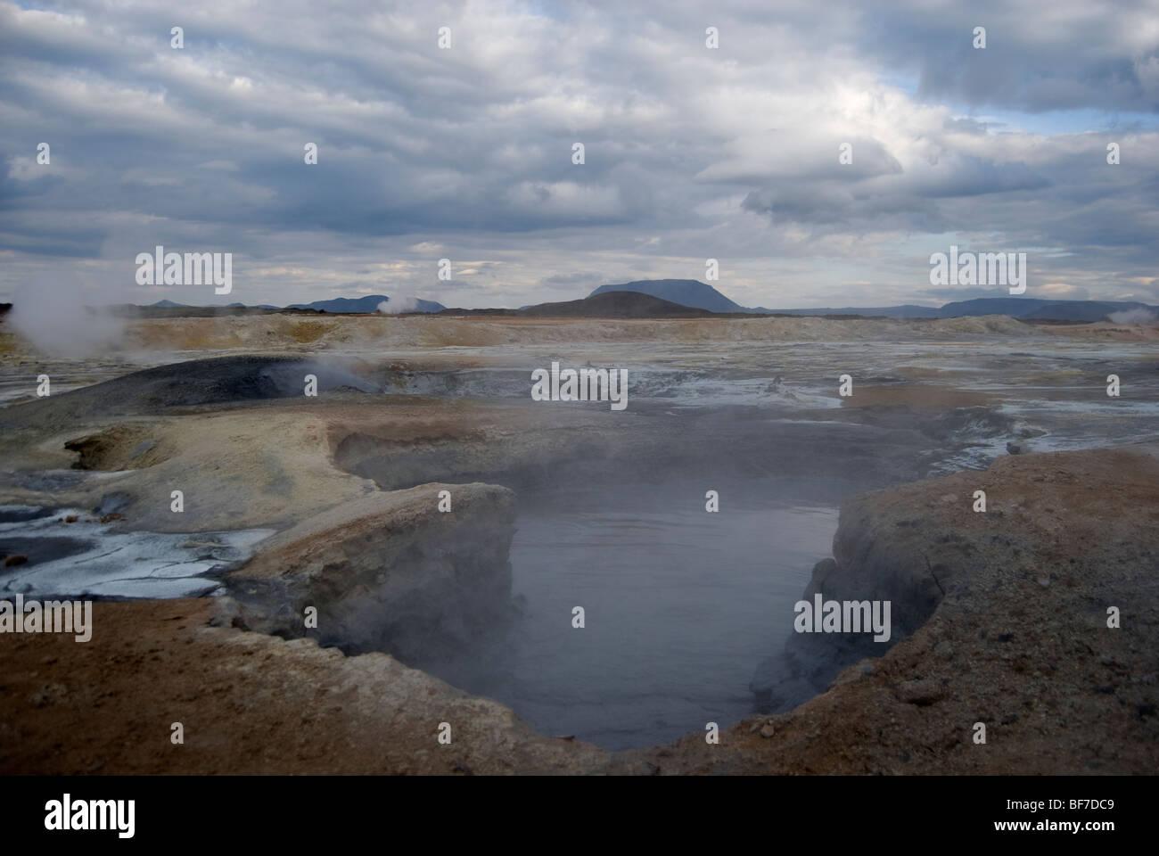 Sulfurous fumaroles at Námafjall, Iceland - Stock Image