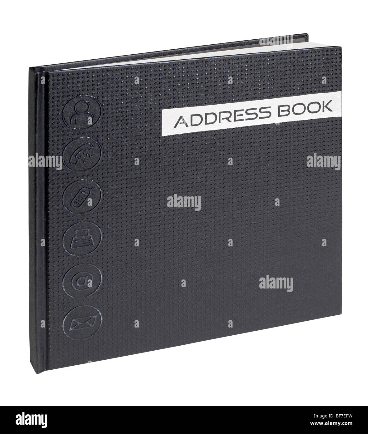 Black hard cover bound address book - Stock Image