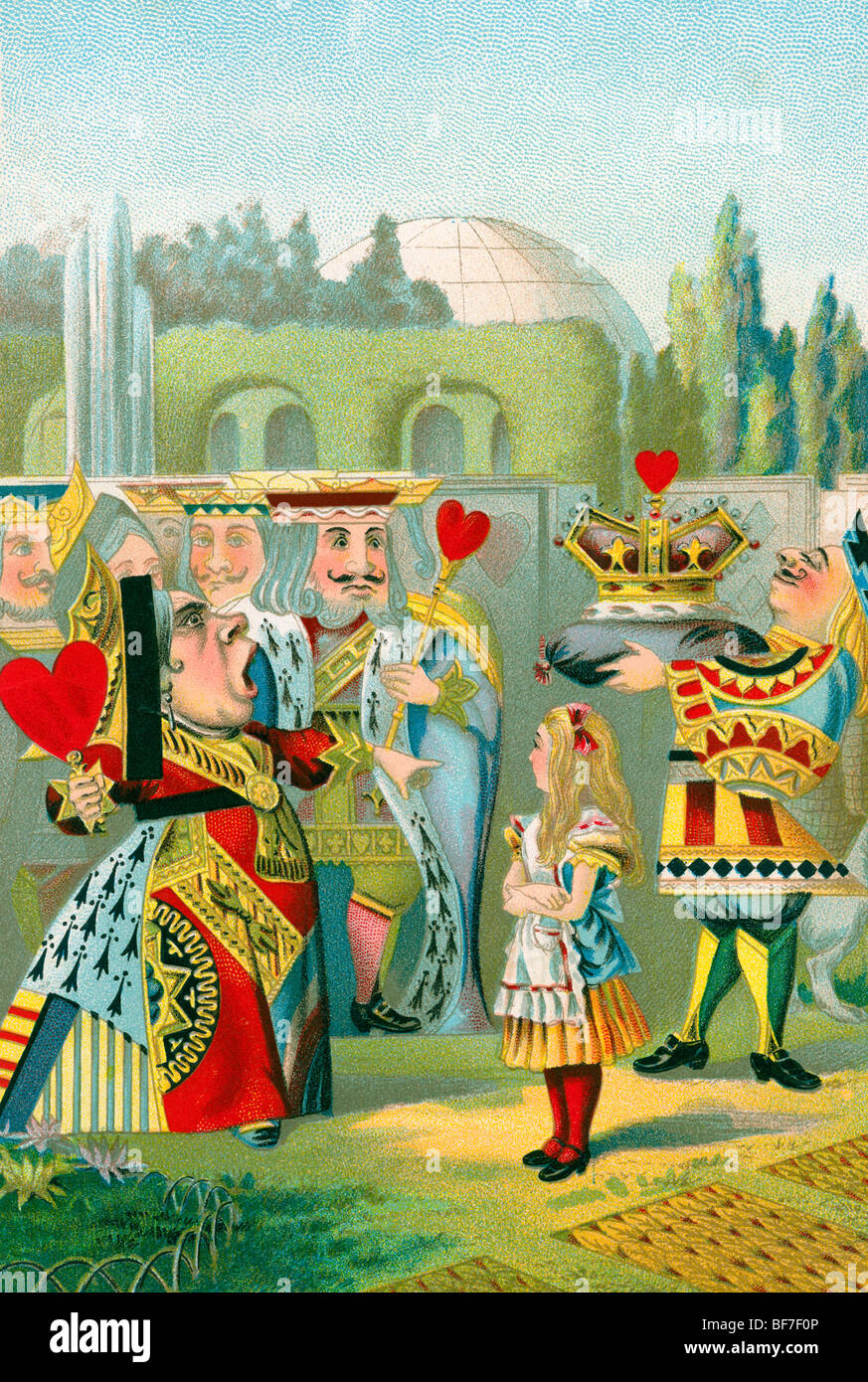 Turn of the century Chromolithograph of Alice in Wonderland with the Queen of Hearts - Stock Image