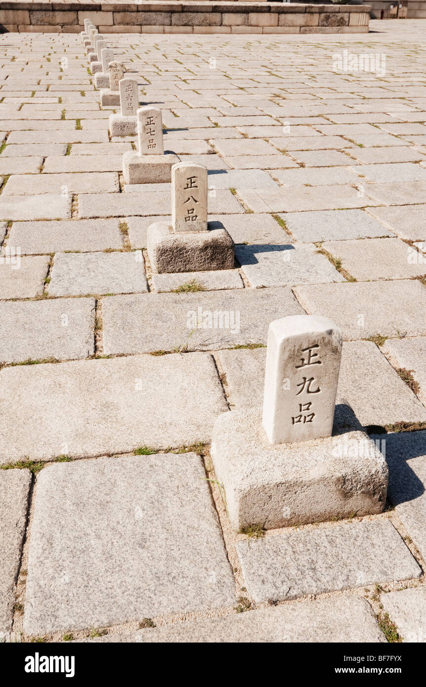 The cobbled plaza in front of the Injeongjeon throne hall of Changdeokgung Royal Palace in Seoul, South Korea. Stock Photo