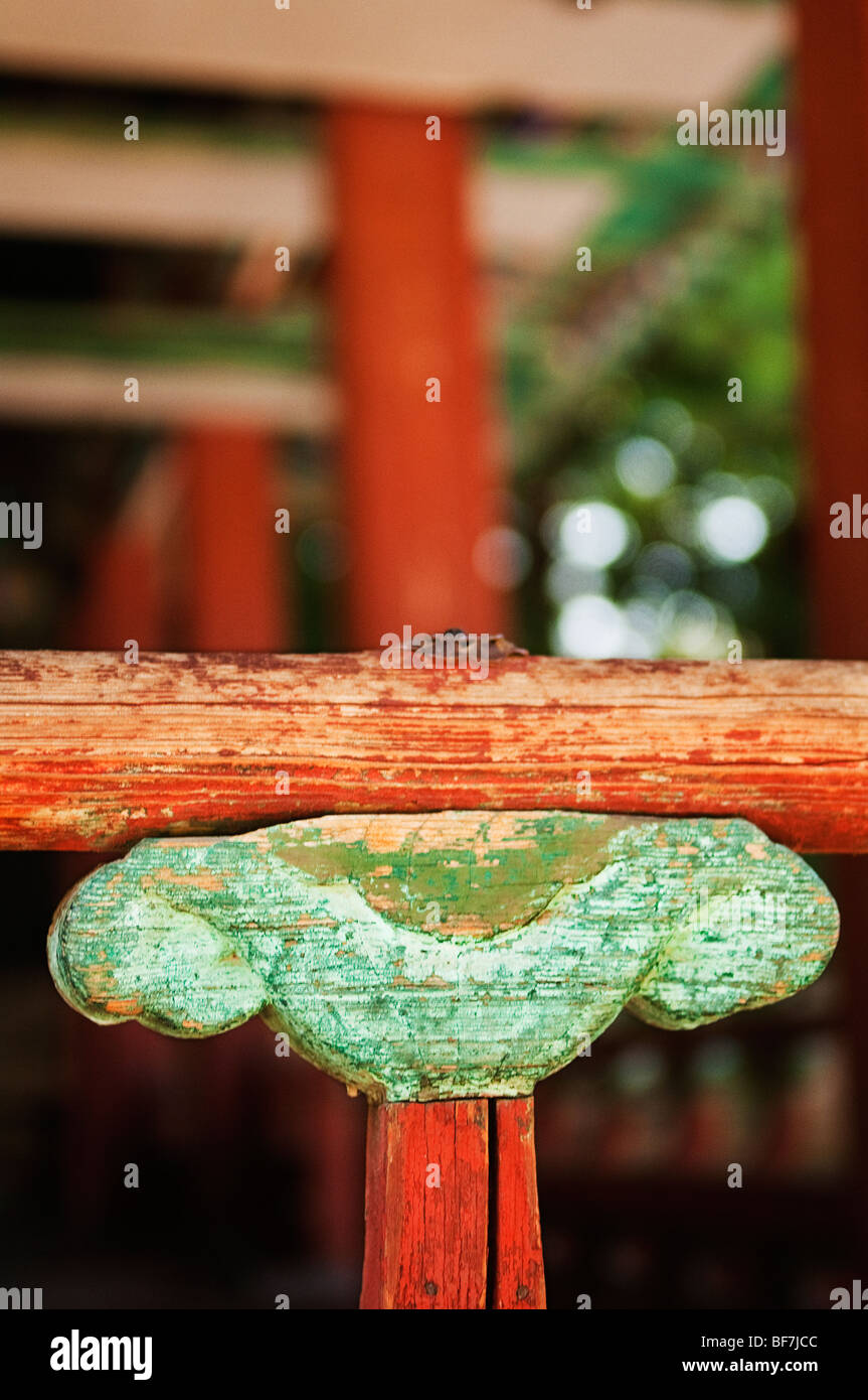 Detail of railing of Yeonhwadang in The Seceret Garden in Changdeokgung Royal Palace in Seoul, South Korea. Stock Photo