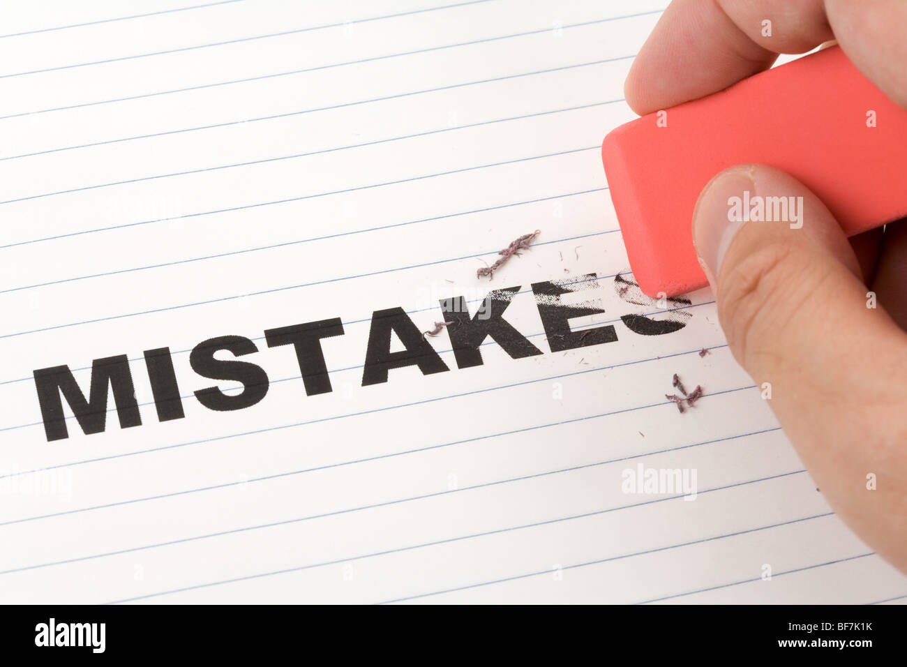 eraser and word mistakes, concept of Making Changing - Stock Image