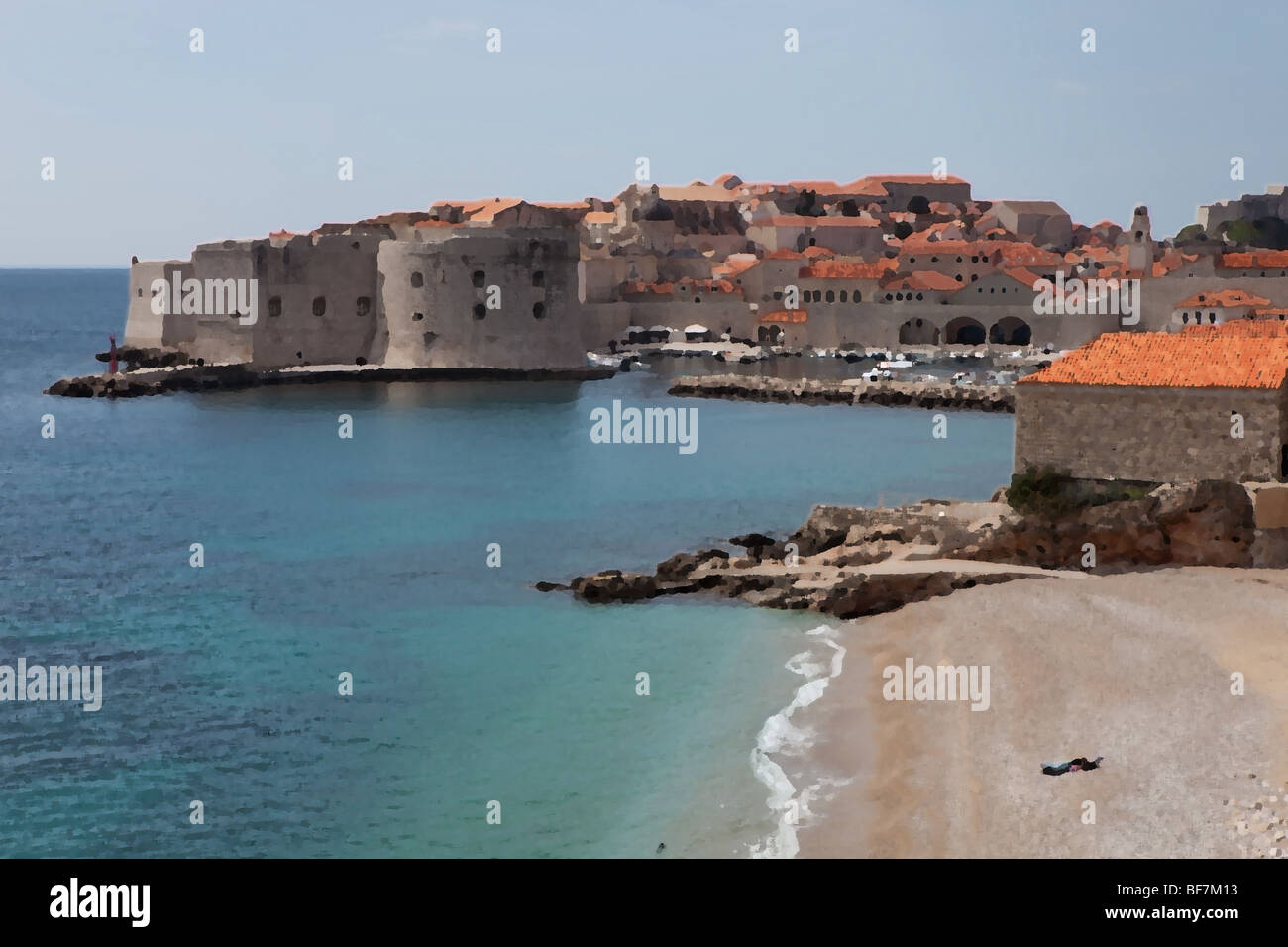 Dubrovnik Old Town with a oil paint filter Stock Photo
