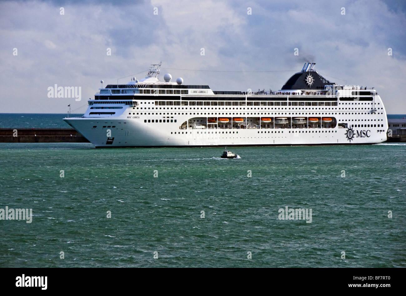 MSC Cruises cruise ship MSC Lirica departs Dover in England - Stock Image