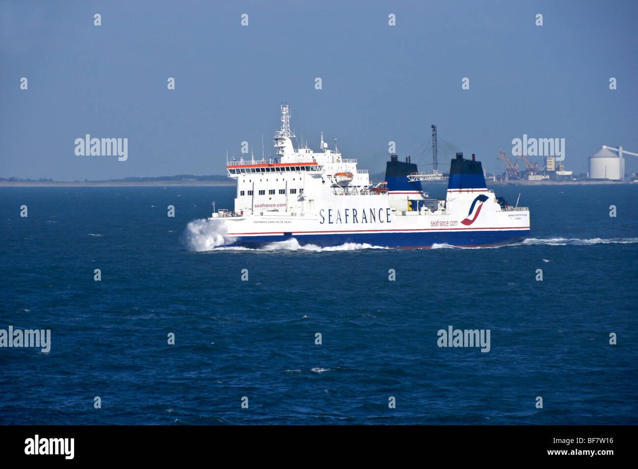 Seafrance freight ferry Seafrance Nord-Pas-De-Calais off Calais - Stock Image