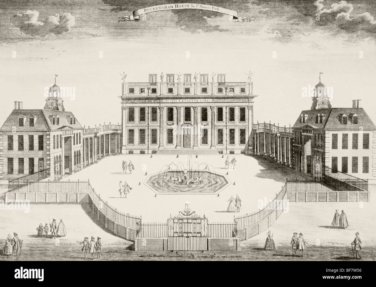 Buckingham House, after an engraving made in 1714. The house was the core  of today's palace.