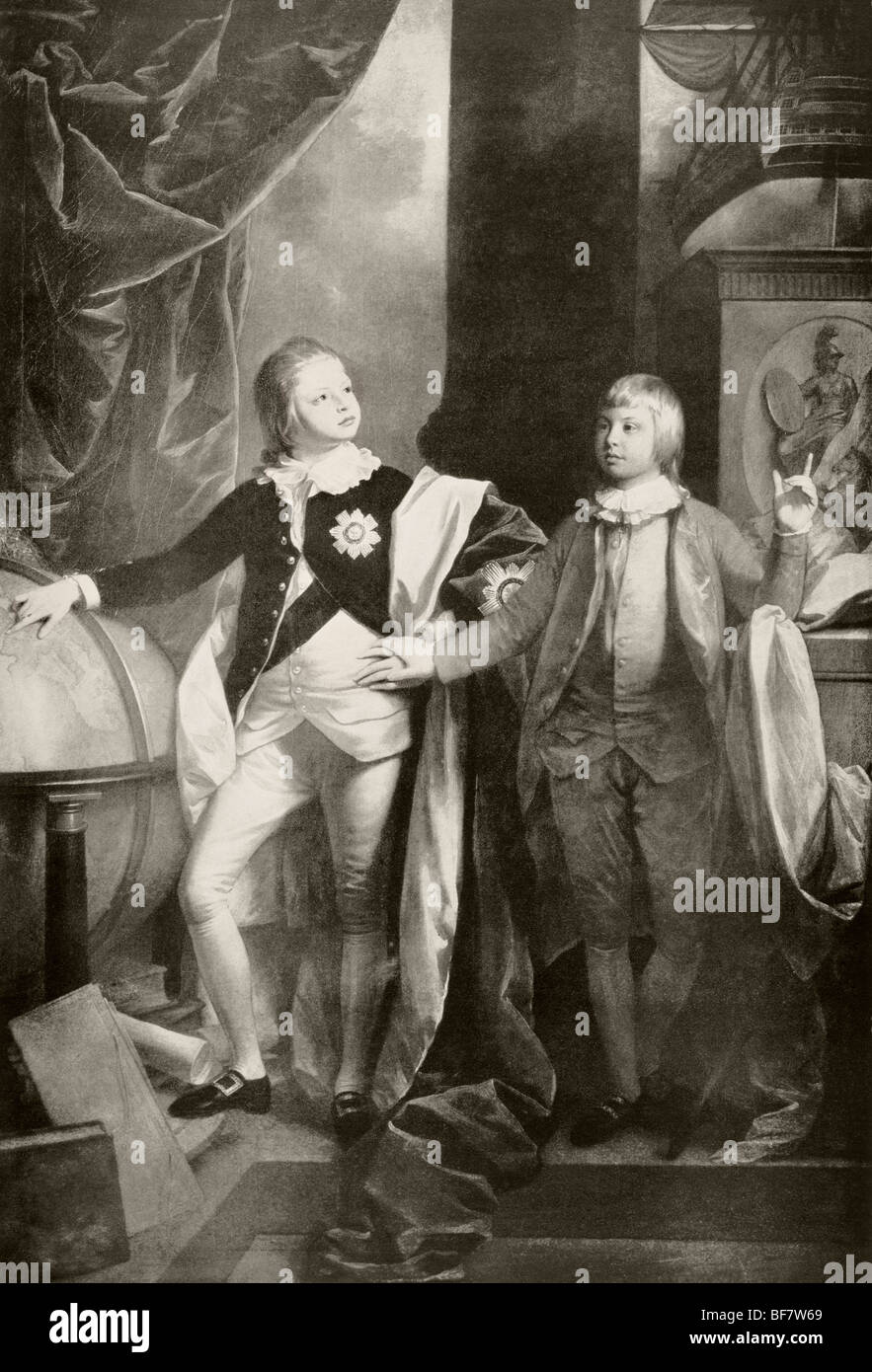William, Duke of Clarence, later King William IV, left, and Edward Duke of Kent, later father of Queen Victoria, - Stock Image