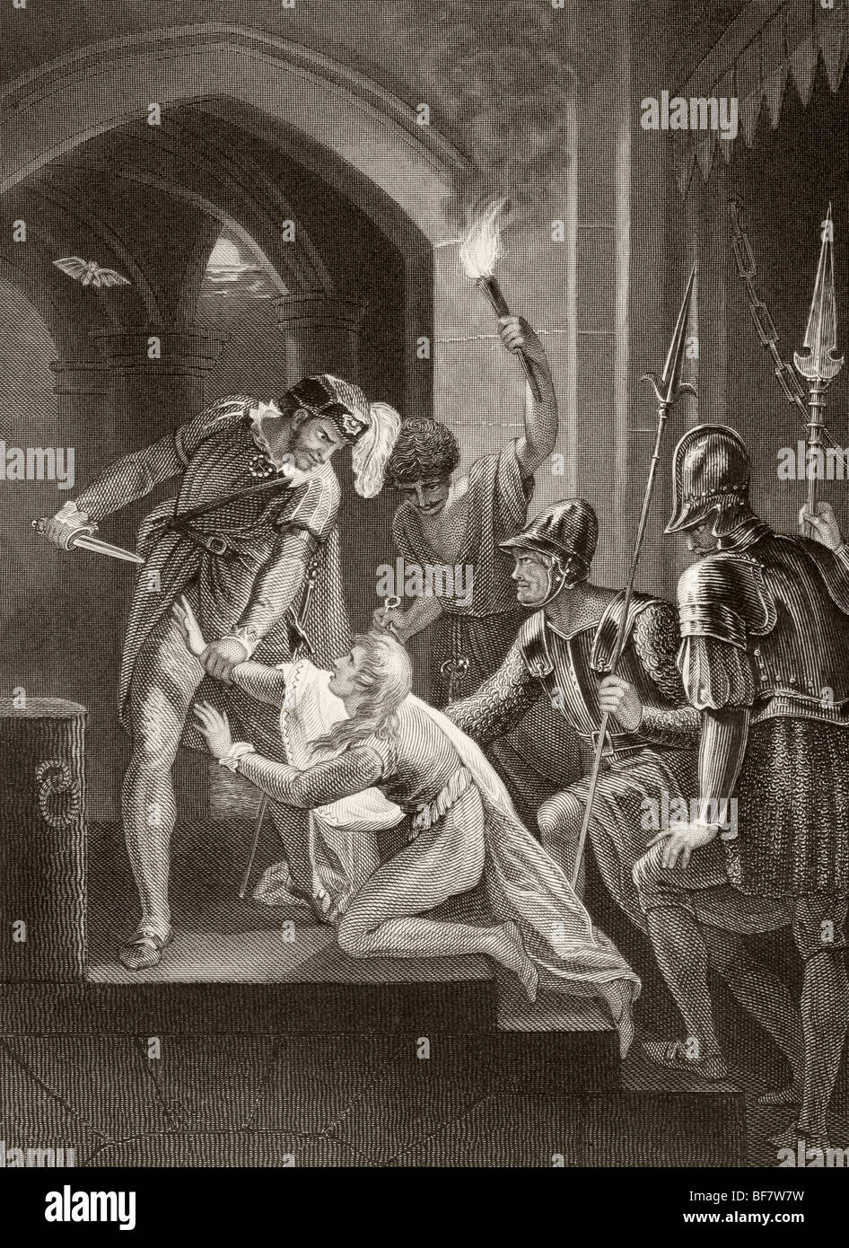 The death of Prince Arthur, 1187 to 1203, Duke of Brittany. - Stock Image
