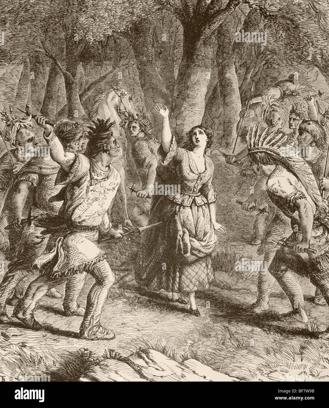 The abduction of Jennie aka Jane McRae by Indians in 1777 during the Revolutinary War - Stock Image