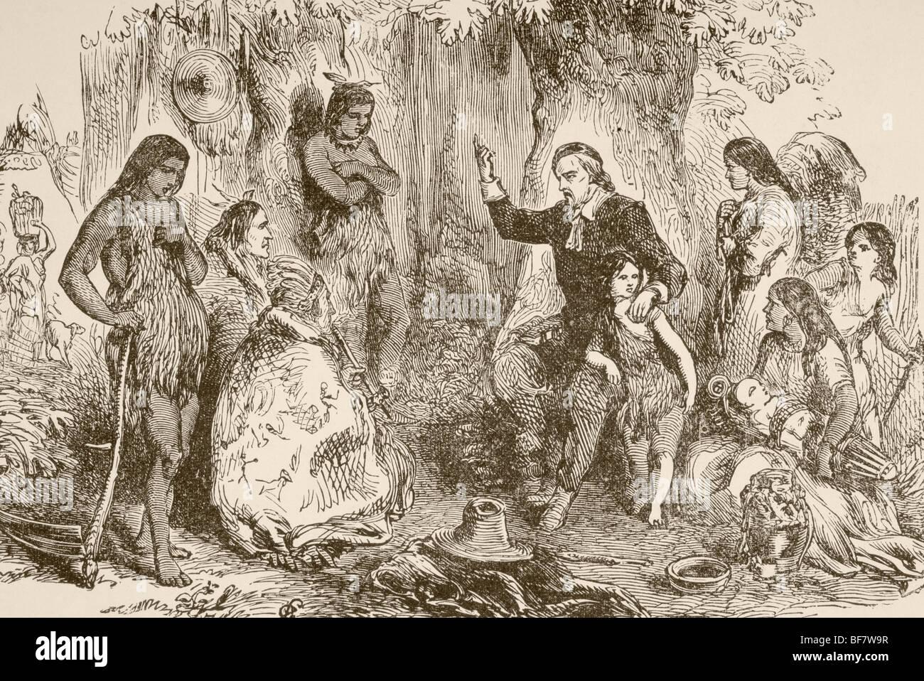 John Eliot circa 1604 to 1690. English born Puritan missionary who preached to Massachusett Indians. - Stock Image