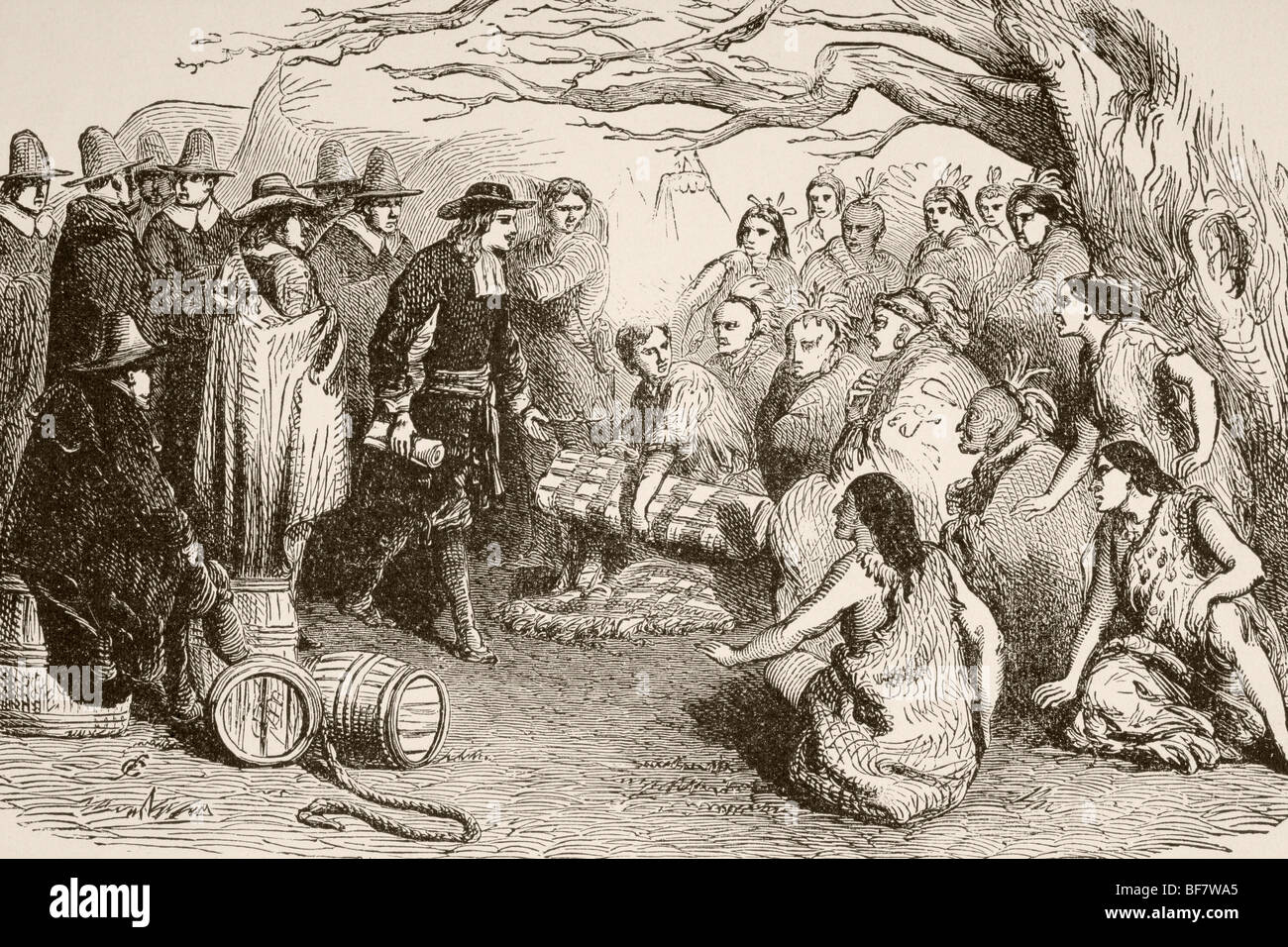 In 1682, William Penn makes a treaty with the Delaware or Lenape Indians under the elm tree at Shackamaxon Stock Photo