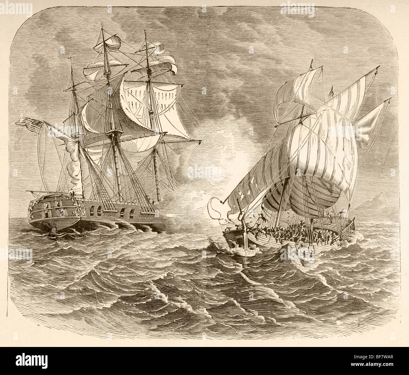 An American Navy ship captures an Algerian pirate ship off the Barbary Coast during the First Barbary War 1801 to - Stock Image