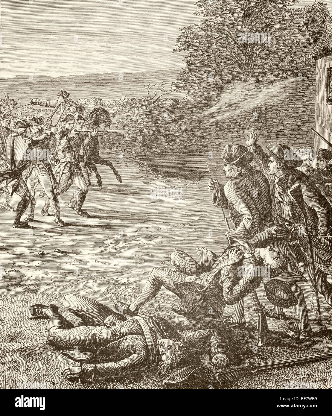 An incident at Lexington during the Battles of Lexington and Concord, April 19 1775, the first battle of the American - Stock Image