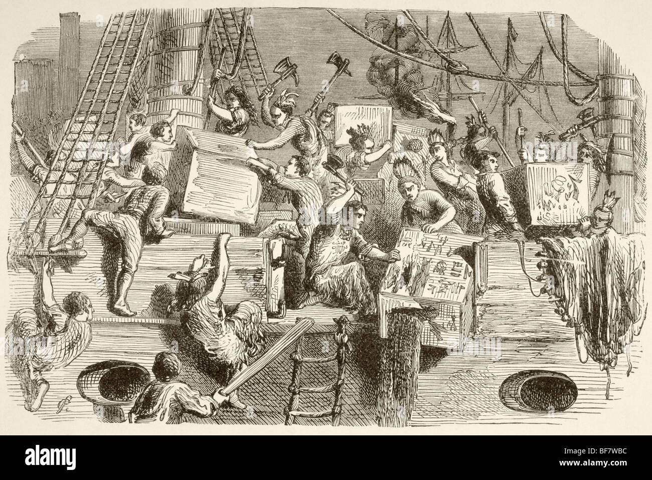 The Boston Tea Party, December 16, 1773. Colonists disguised as Mohawk  Indians destroy chests of tea on ships in Boston harbour.
