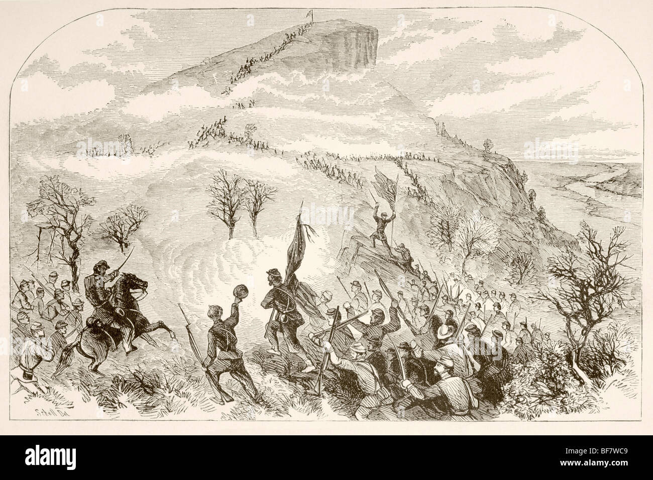 The Battle of Lookout Mountain, November 24, 1863, during the American Civil War. - Stock Image