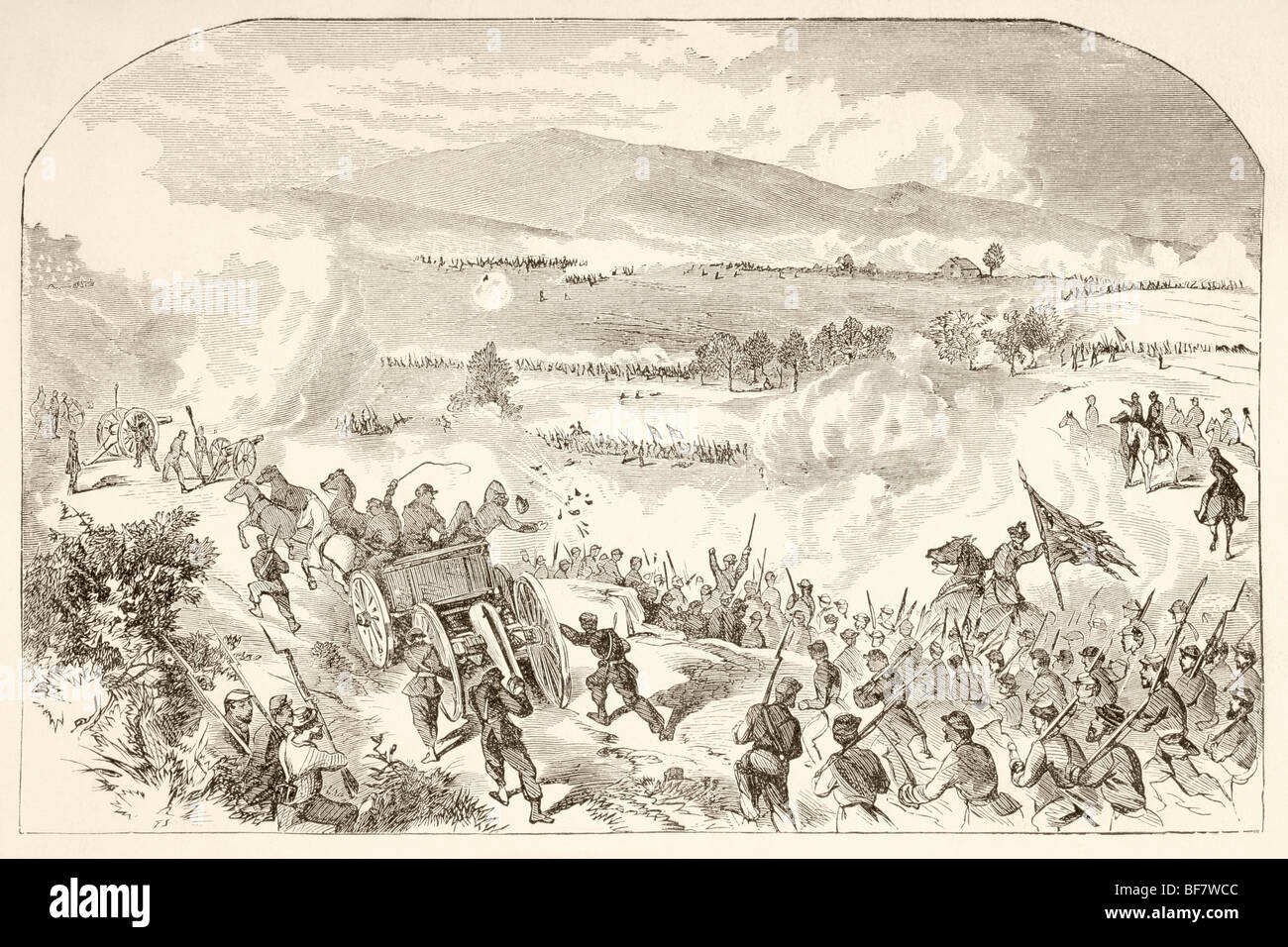 The Battle of Malvern Hill, also known as the Battle of Poindexter's Farm during the American Civil War. - Stock Image