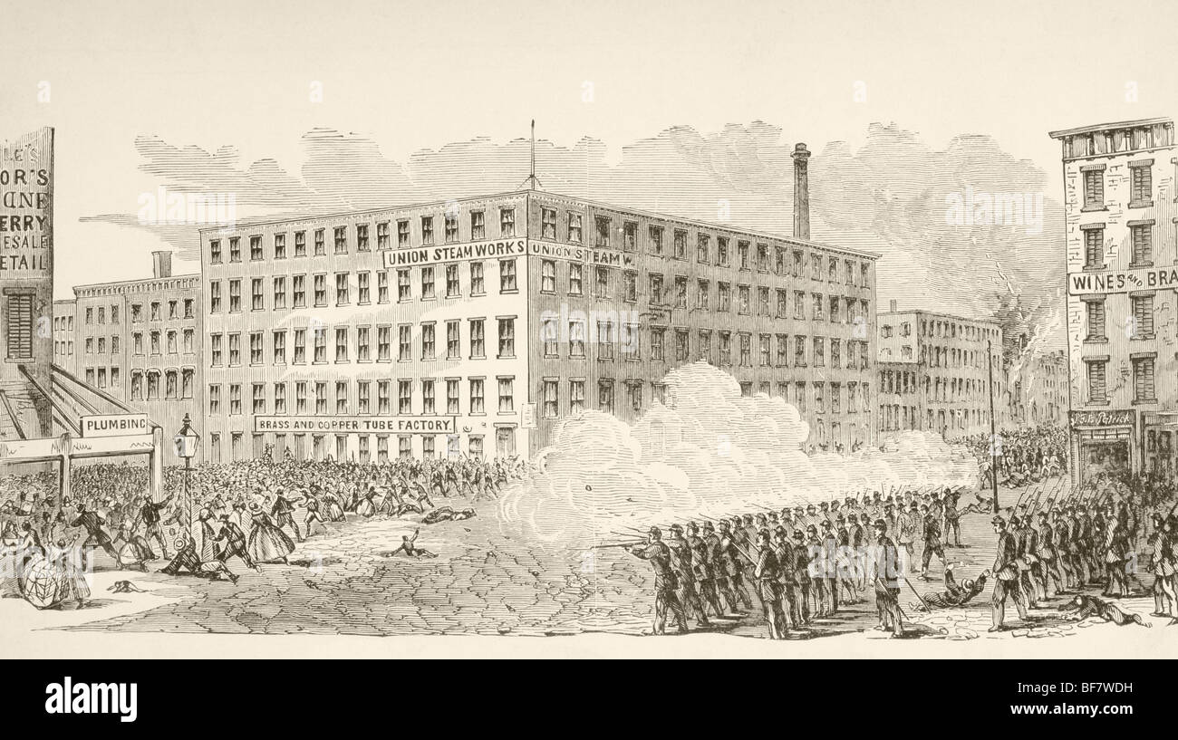 The incident in Second Avenue during the New York Draft Riots, July 1863, during the American Civil War. - Stock Image