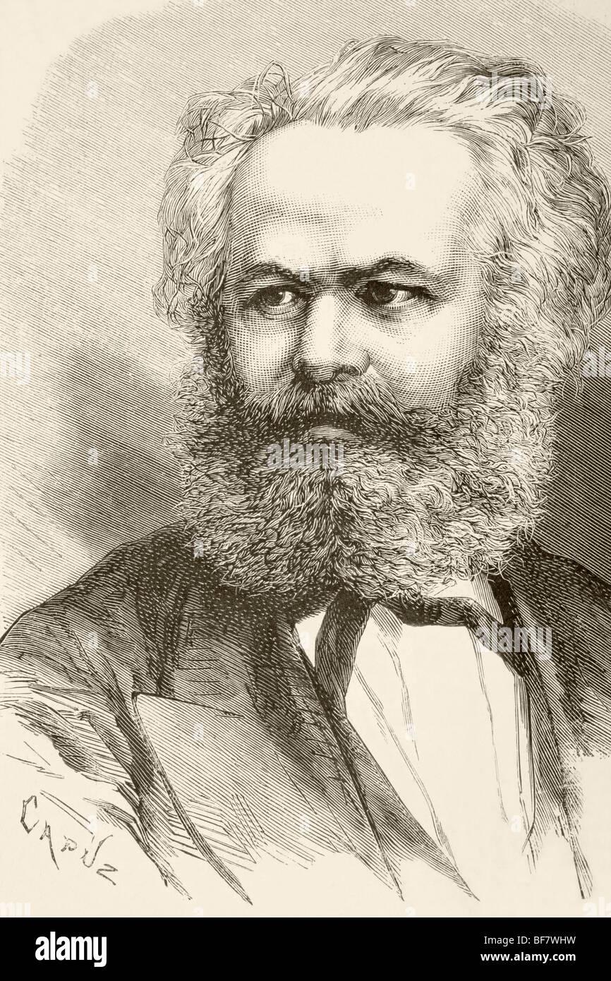 Karl Heinrich Marx, 1818 to 1883. German philosopher and political economist. Founder of modern Communism. - Stock Image