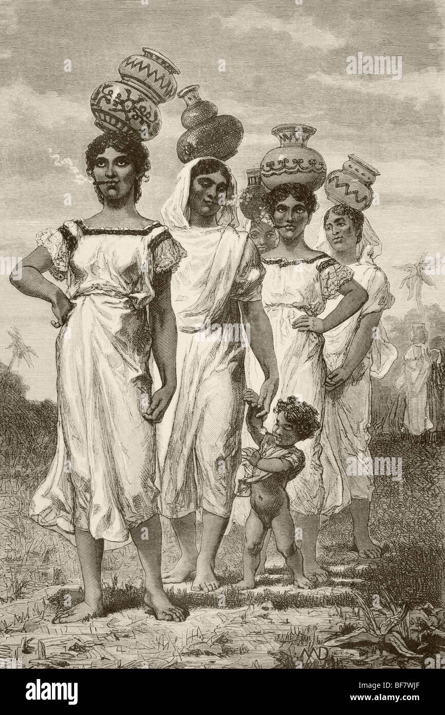 19th century Paraguayan country girls - Stock Image