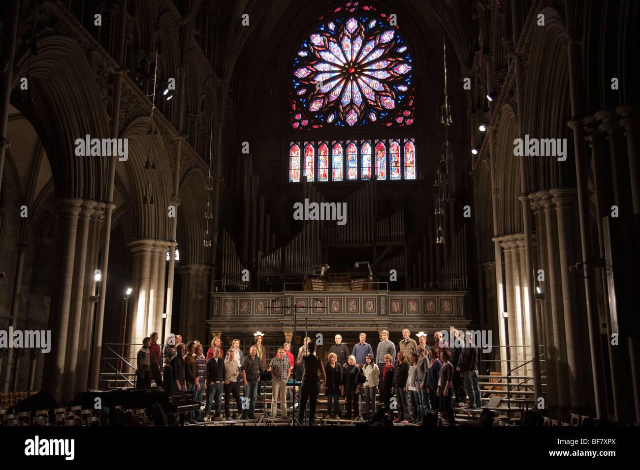 Norway Trondheim Nidaros cathedral interior church choir - Stock Image