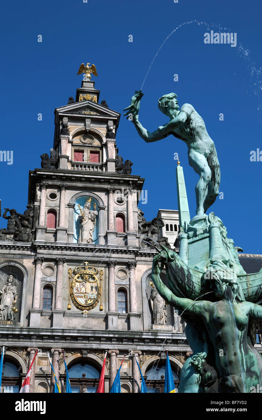 Brabo Fountain in front of the Town Hall in the Grote Markt. Stock Photo