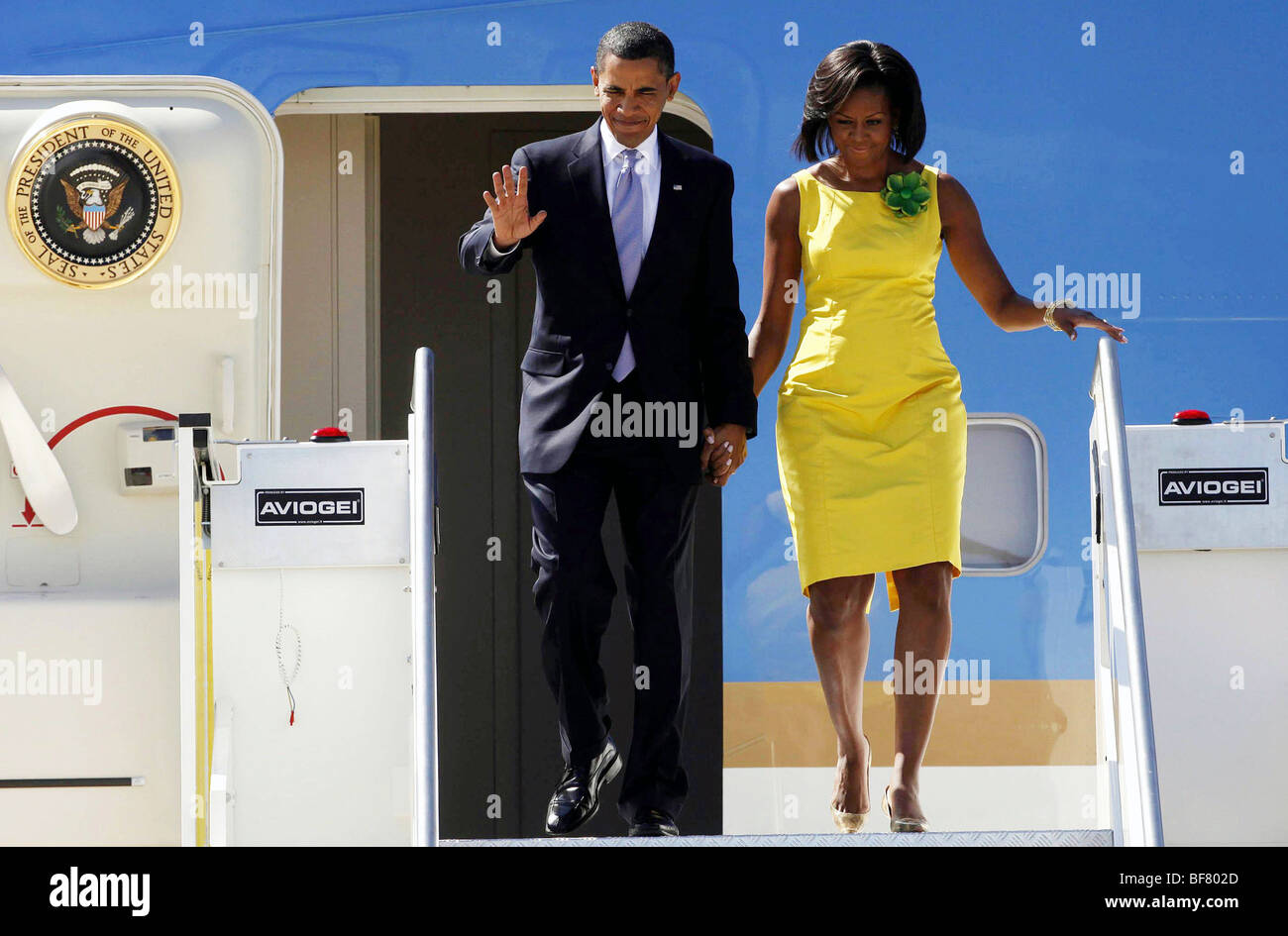Italy, Milan : Michelle and Barack Obama (2009/07/08) - Stock Image