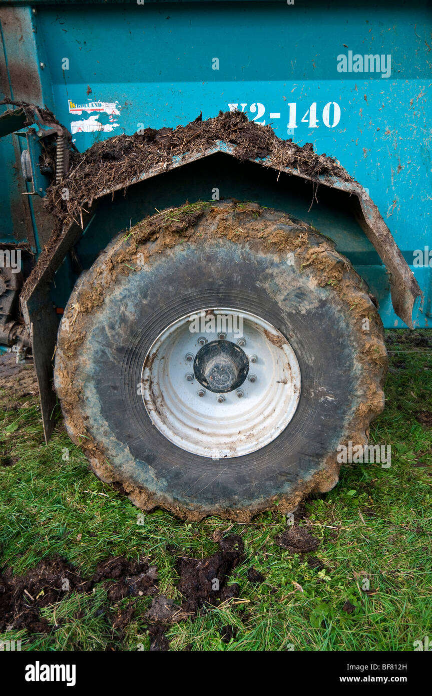 Ribbed tyre of Rolland manure spreader trailer - France. - Stock Image