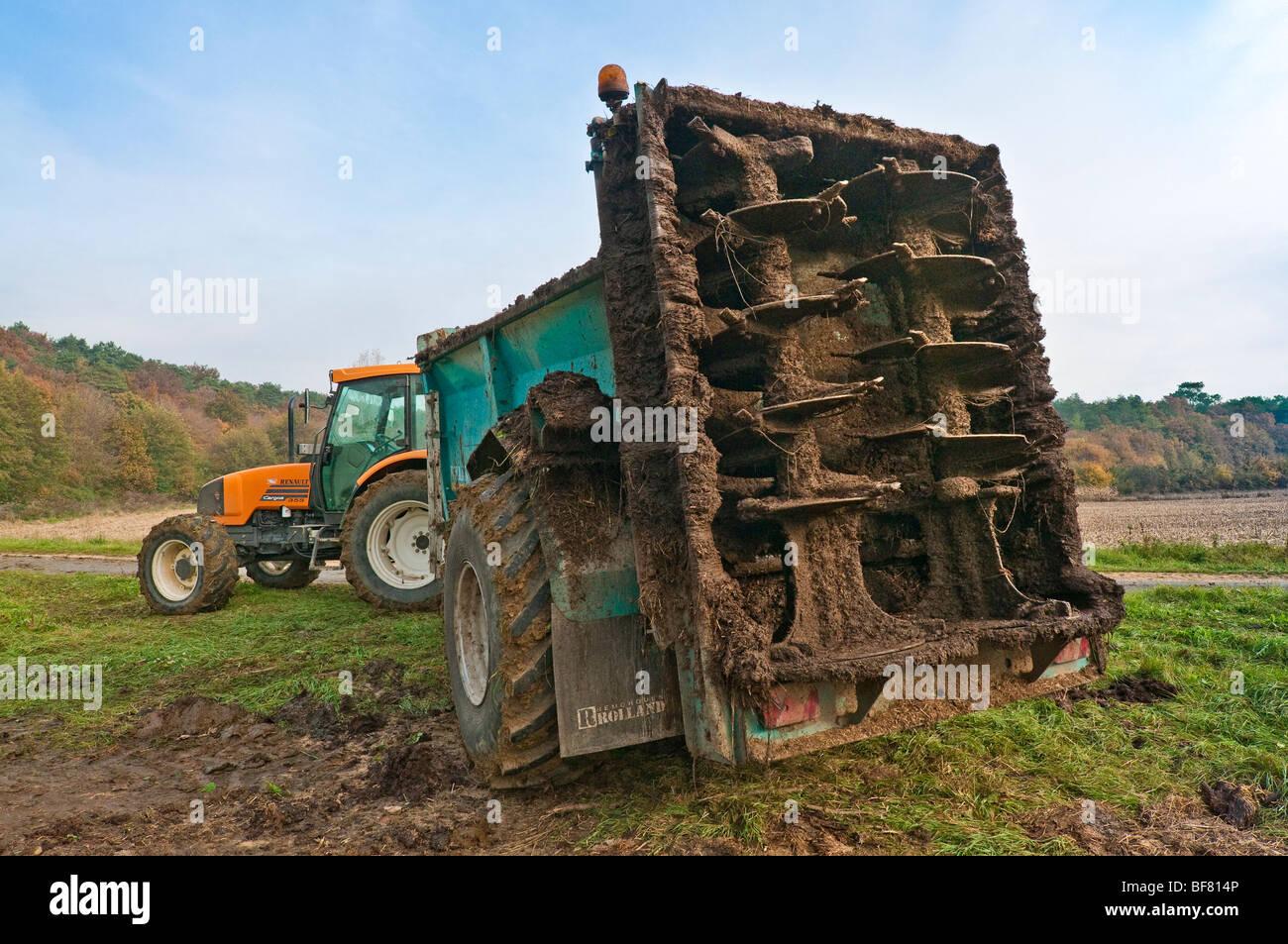 Back of Rolland manure spreader trailer - France. - Stock Image