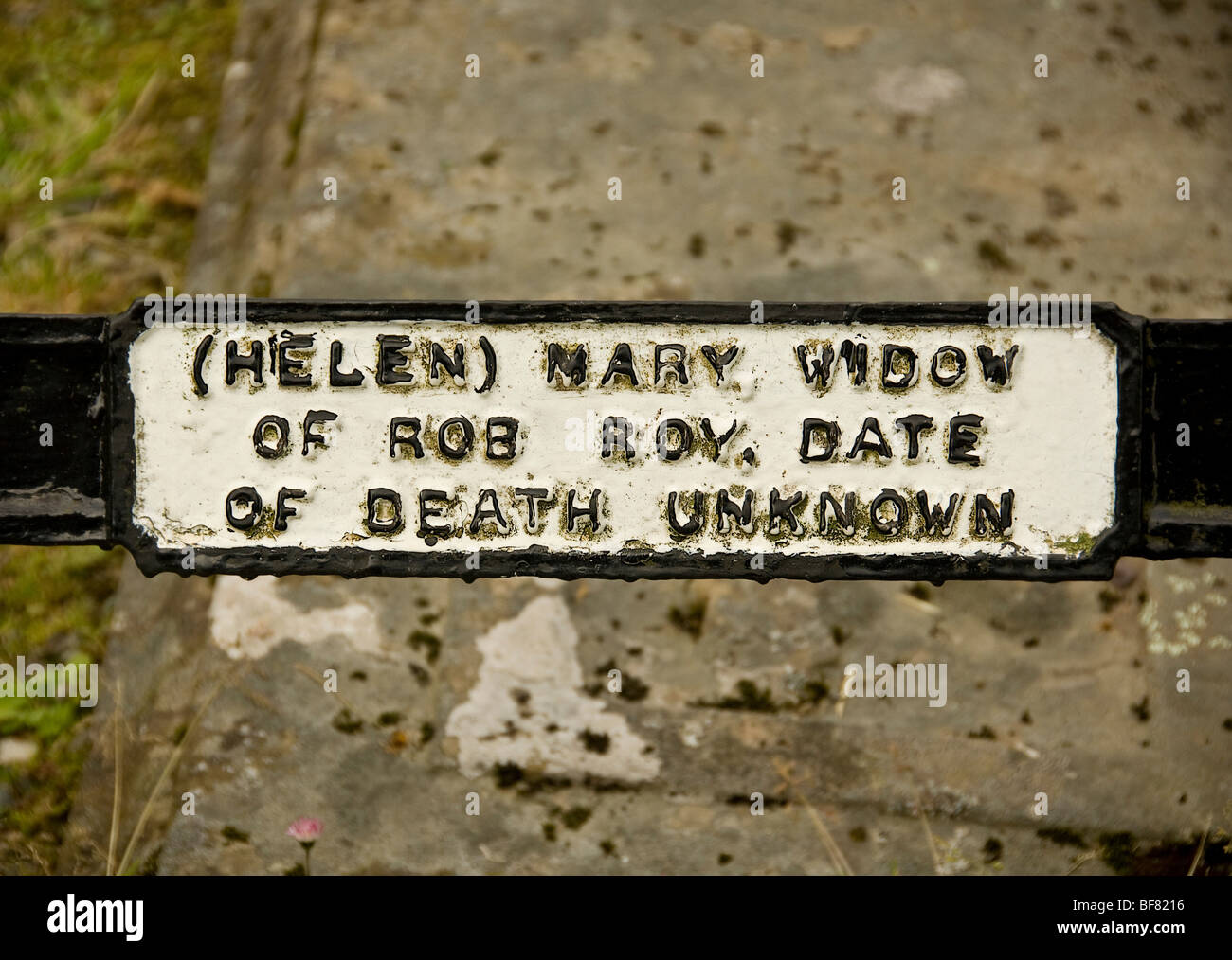 Helen Mary MacGregor's Name plaque on Rob Roy's family grave Stock Photo