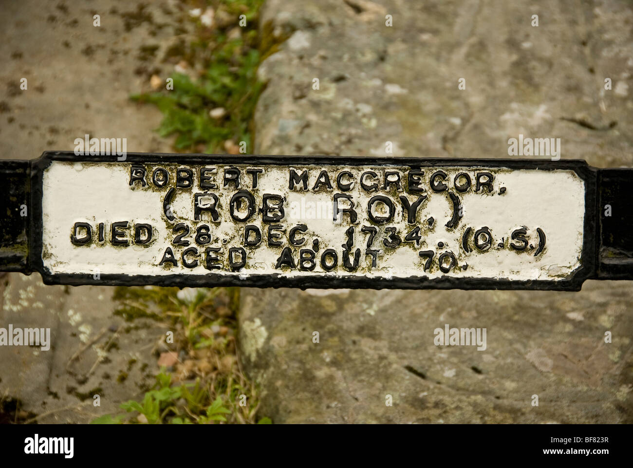 Robert MacGregor's (Rob Roy) Name plaque on family grave Stock Photo