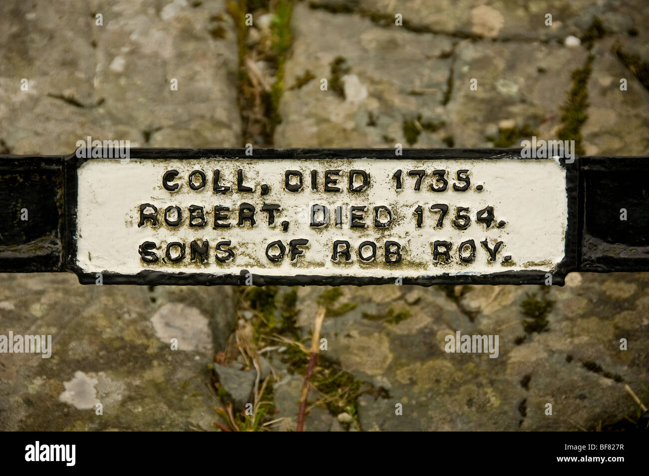 Coll and Robert Macgregor's name plaque on Rob Roy's family grave Stock Photo