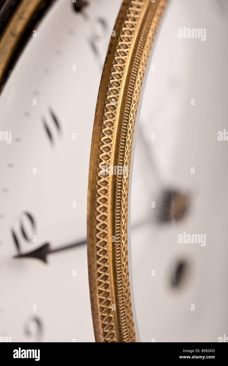 Close-up of  historic antique clock, macro lens - Stock Image