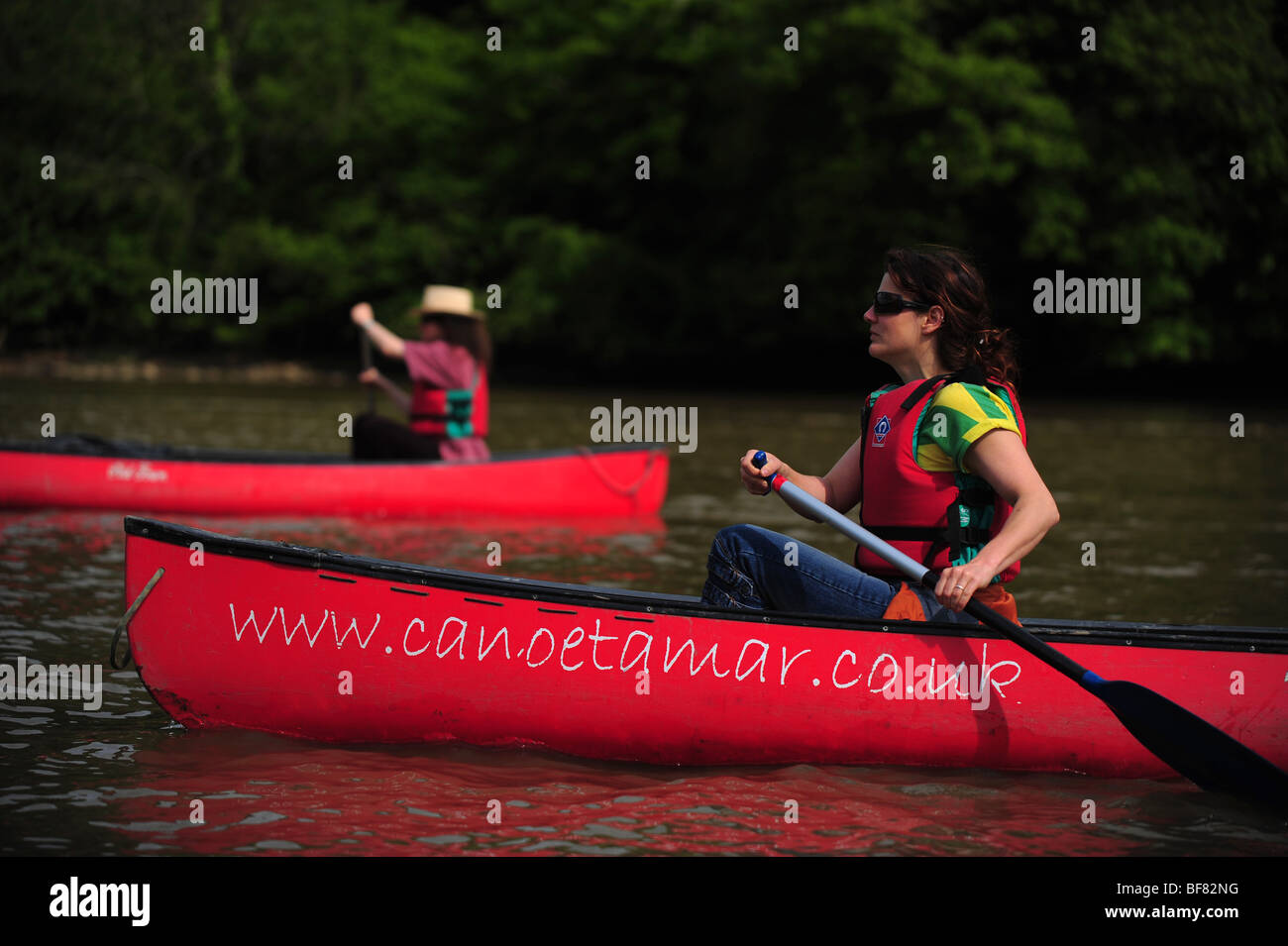 canoeing and kayaking on the river Tamar, on the Devon and Cornwall border, UK Stock Photo
