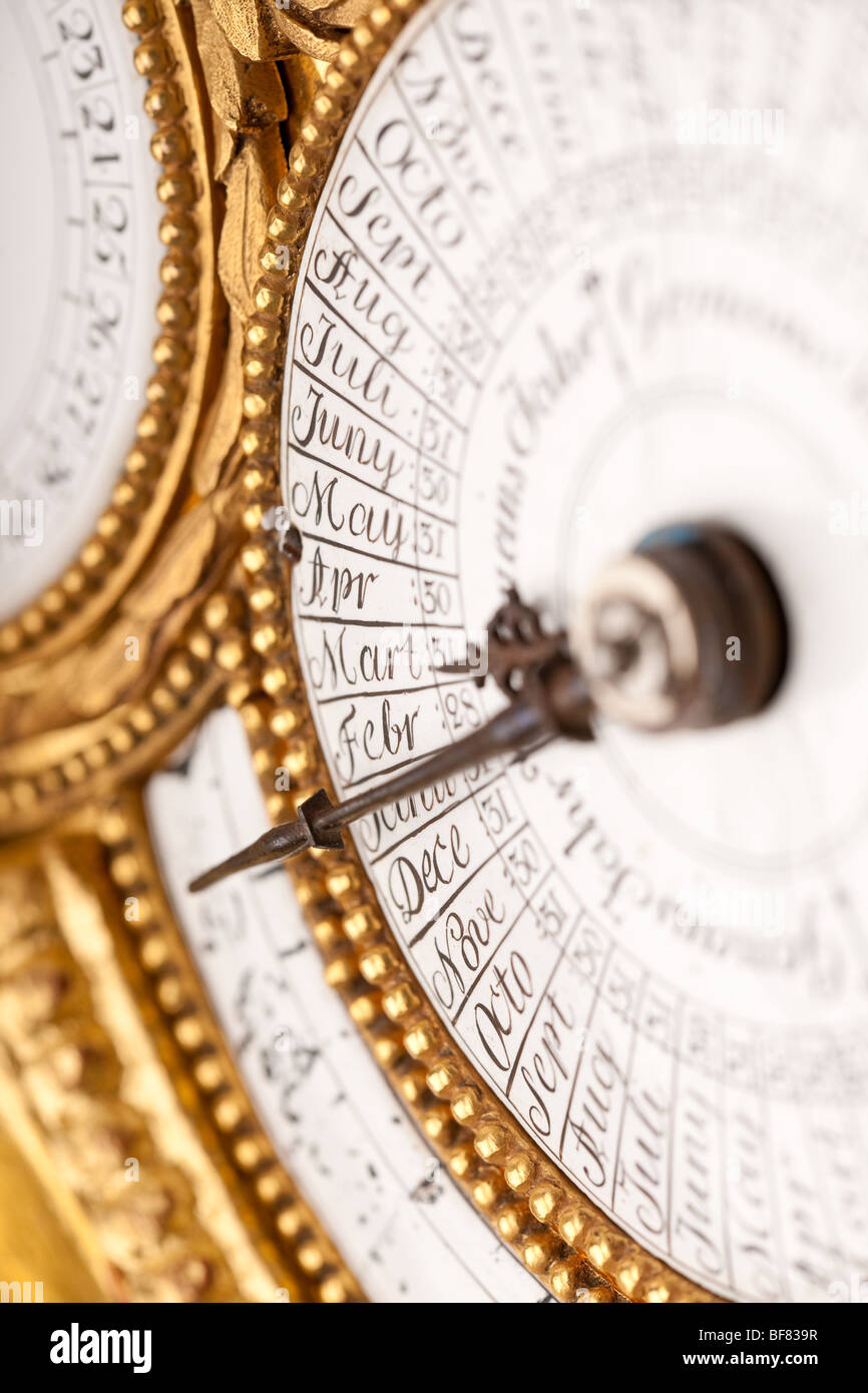 Close-up of  historic antique clock, macro lens - Stock Image