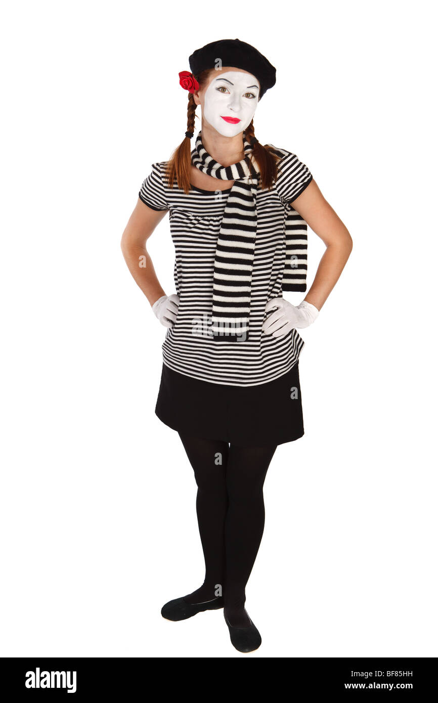 Portrait of a young lady dressed up as a mime isolated on white background - Stock Image