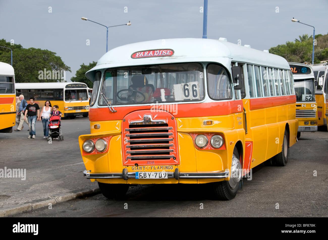 Malta Valletta City Bus Yellow Public Transport - Stock Image