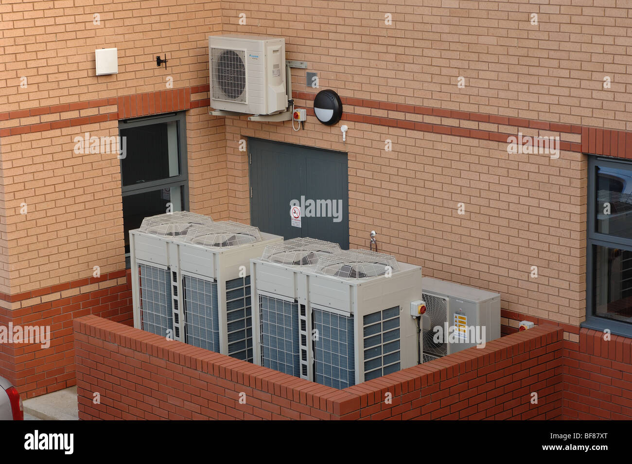Air sourced heat pumps used to heat offices in Barnstaple north devon england - Stock Image