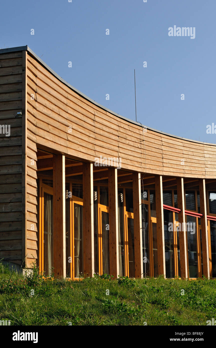 Southern Window Facade Sustainable Building of Slunakov Ecological and Educational Center in Horka near Olomouc, - Stock Image