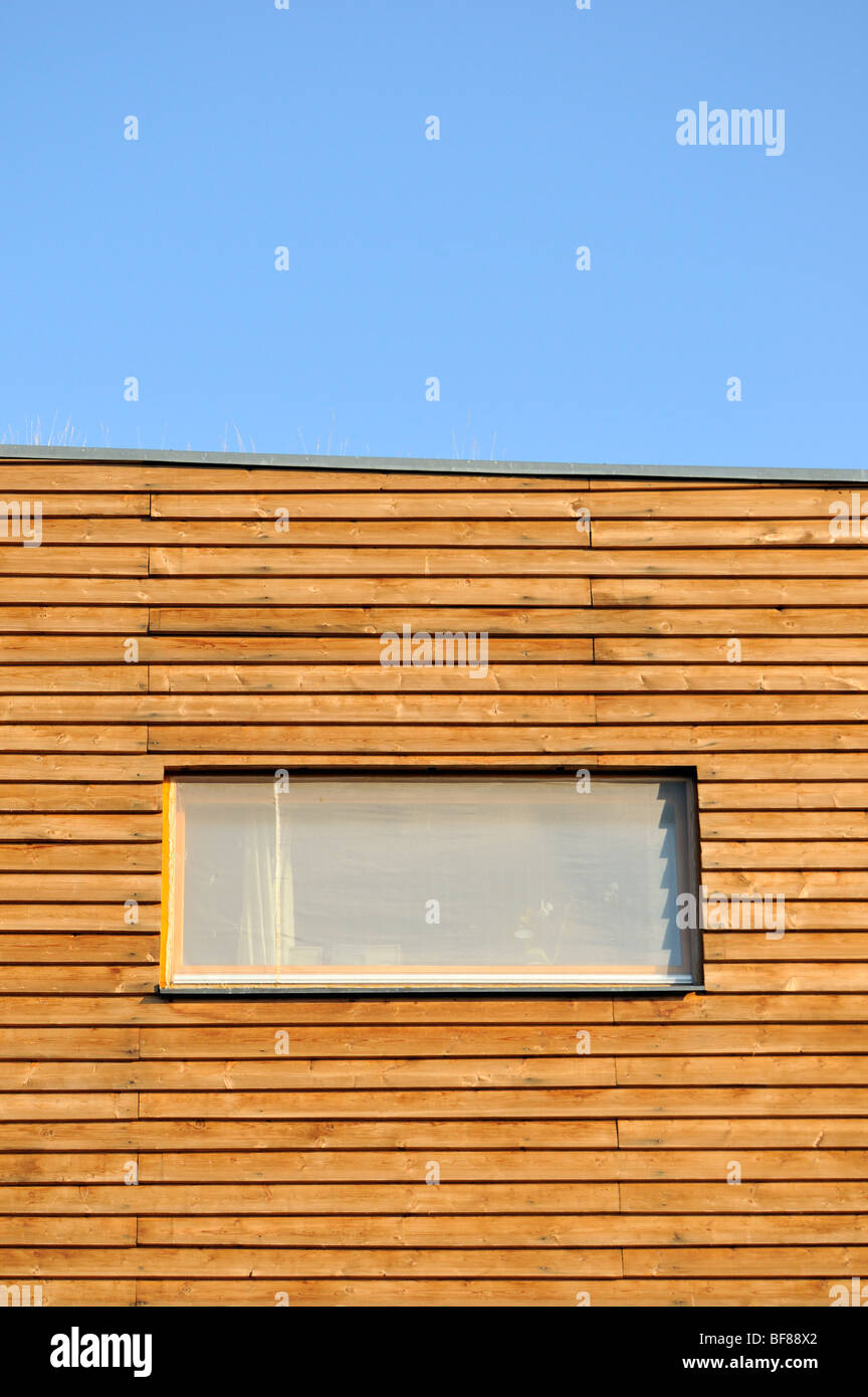 Architectural Detail of Window on Wooden Facade of Sustainable Building of Slunakov Eco Center in Horka, Olomouc, - Stock Image