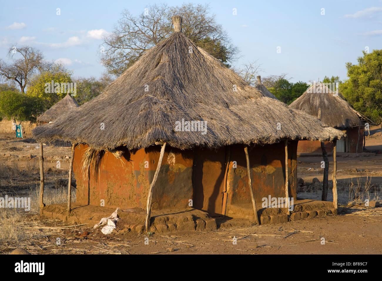 Traditional Zambian huts in Nsongwe village near Livingstone. Stock Photo