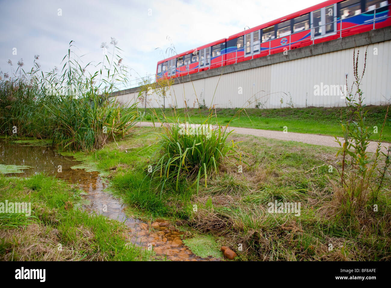Docklands light railway DLR train by Bow Creek Ecology Park, a small open space in Newham in London - Stock Image