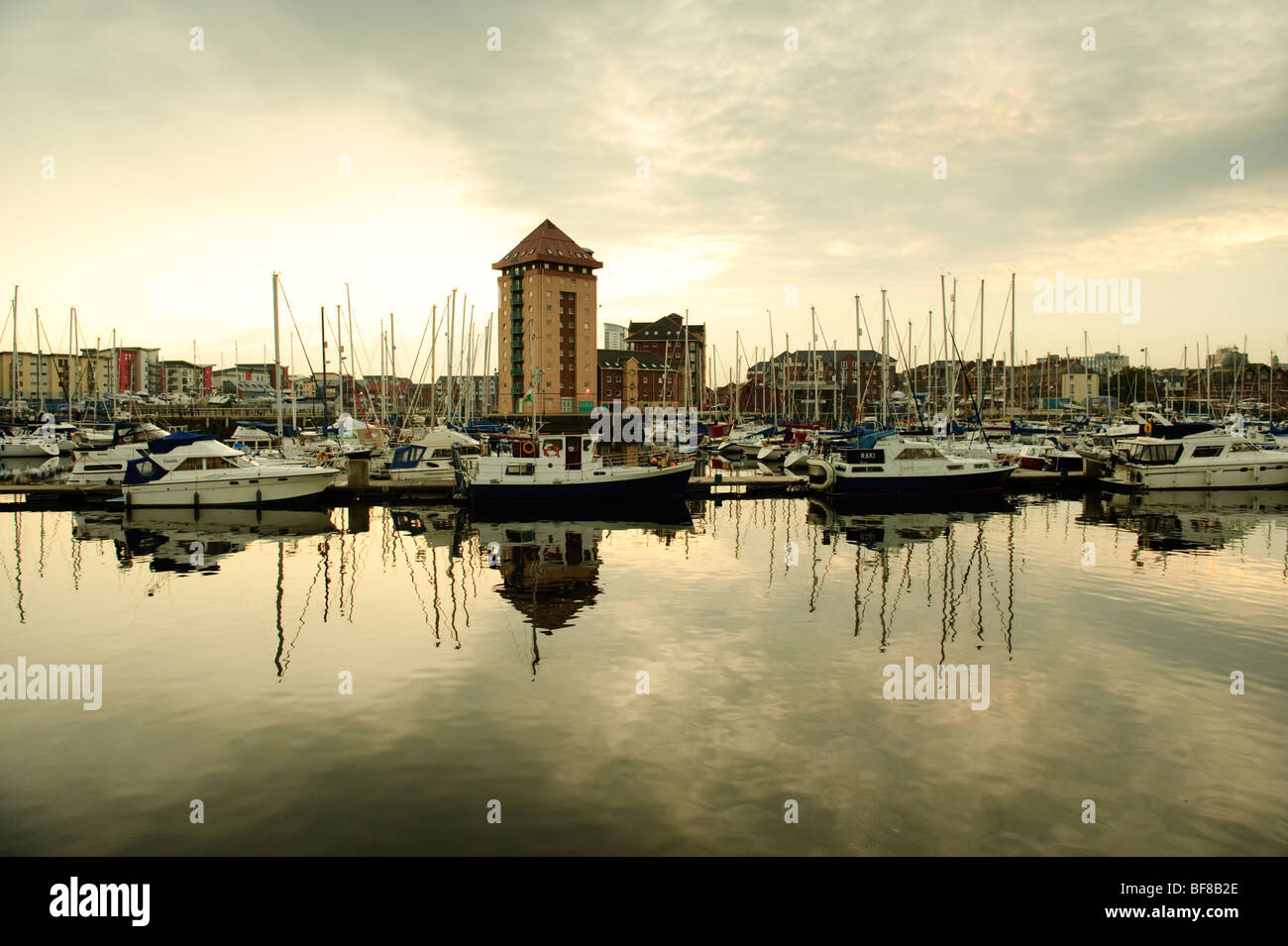 Swansea city SA1 docklands redevelopment zone at night, Wales UK - Stock Image